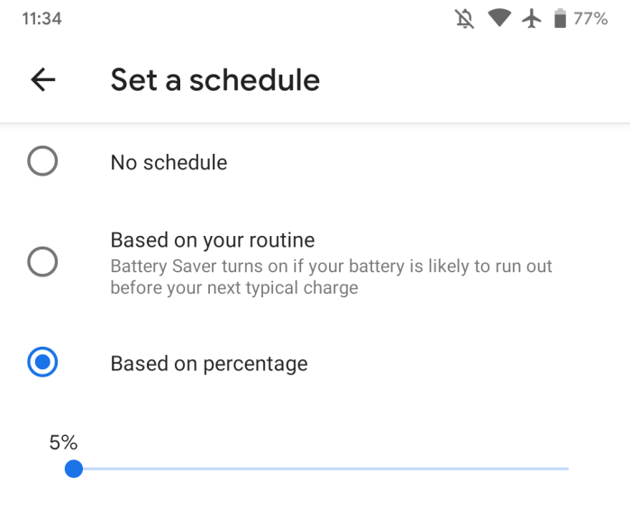 Android Q Beta 1 Battery Saver