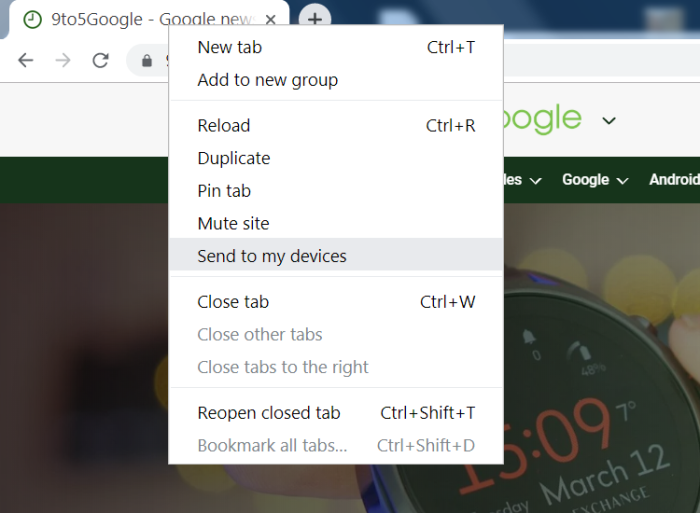 Google Chrome can now share tabs to other devices - 9to5Google