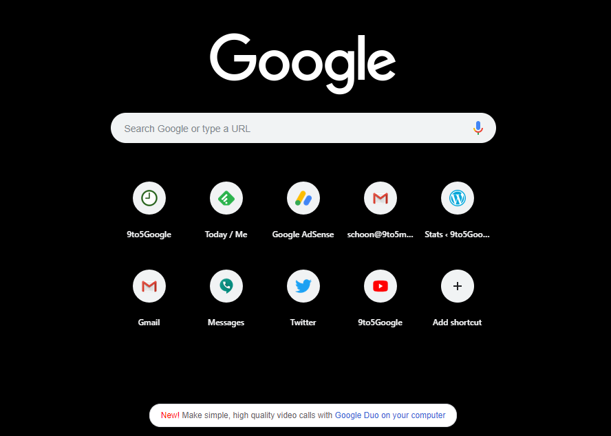 Google advertisies Duo for Web on homepage, Chrome - 9to5Google