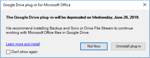 Google replacing Drive plug-in for Office w/ Drive File