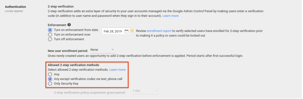 G Suite admins can now disable two-factor authentication over texts, phone calls