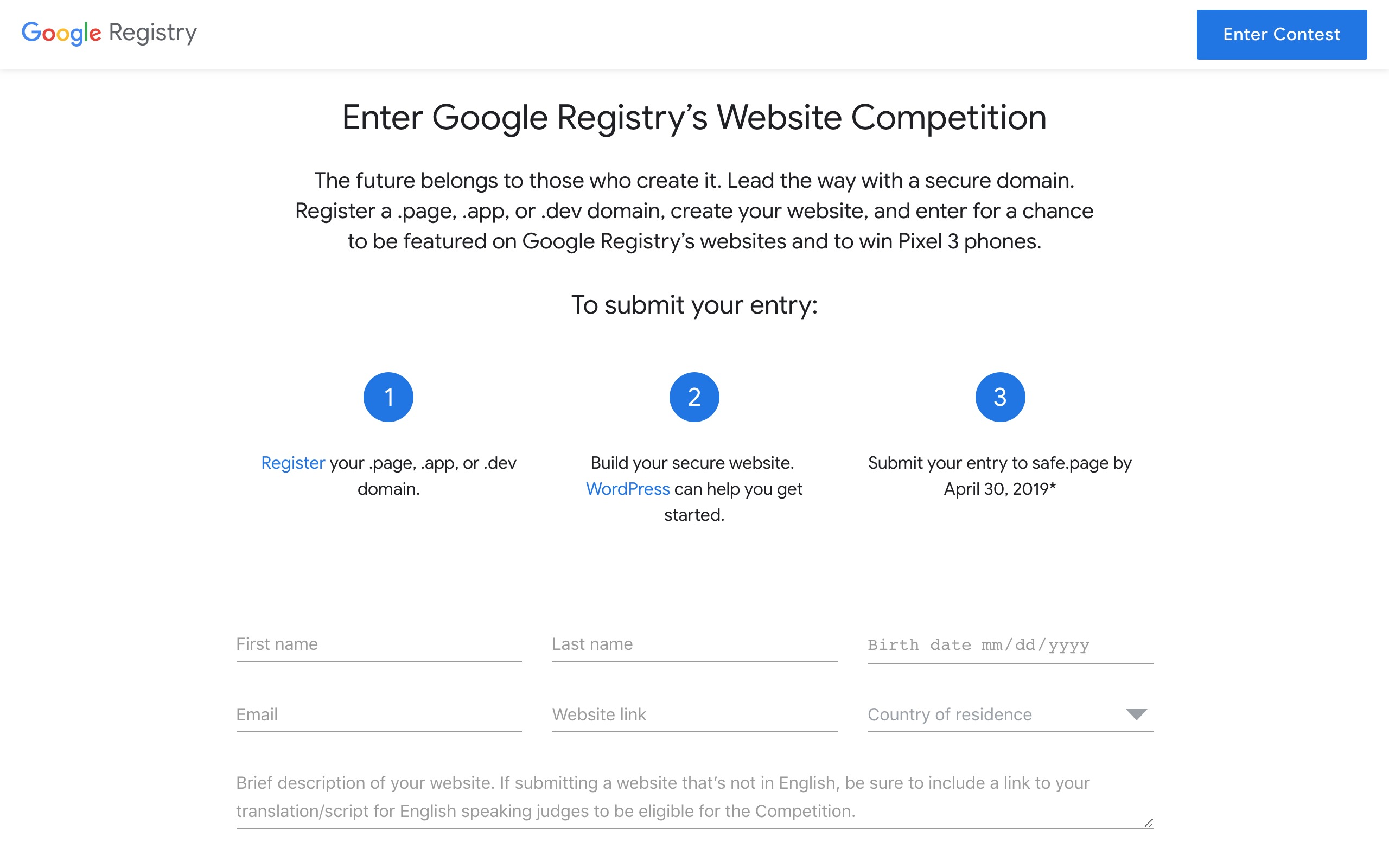 Google HTTPS website contest