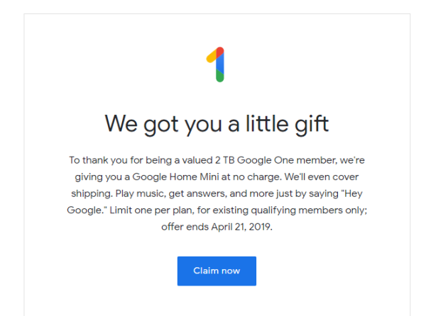 Some Google One users getting free Home Mini promo code