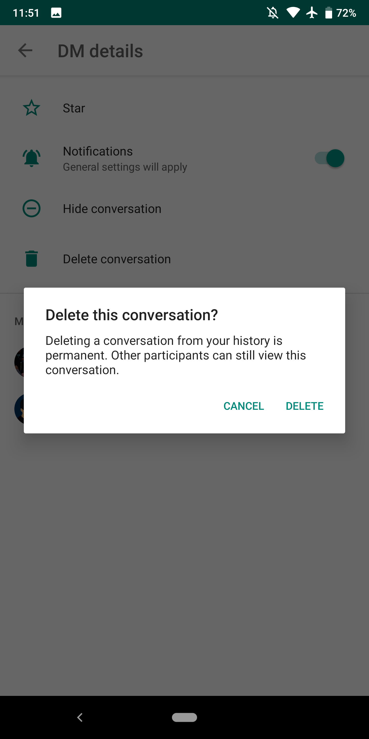 Hangouts Chat adds option to delete direct message