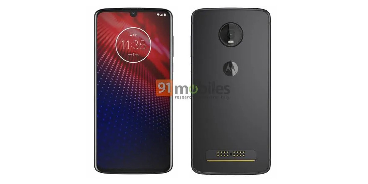 Moto Z4 render leaks w/ waterdrop notch, single rear camera, Moto Mod pins