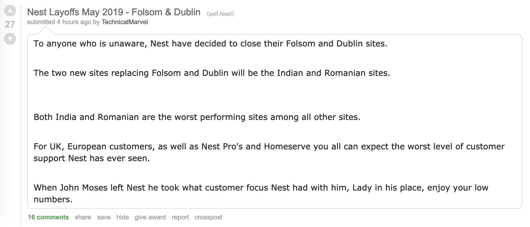 Nest customer support firings
