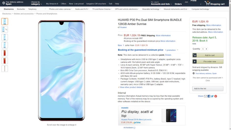 Huawei P30 Pro Amazon pricing