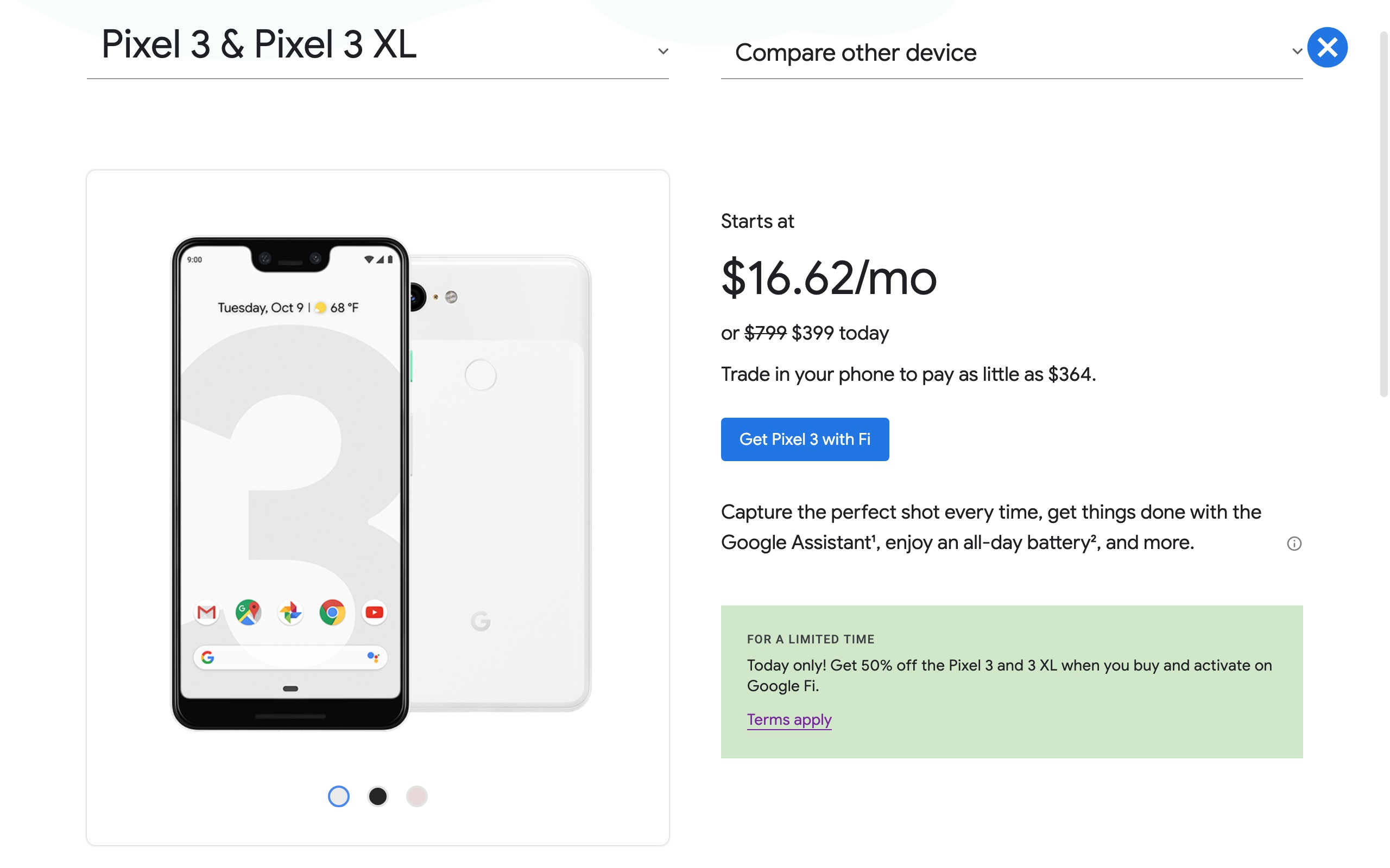 Google Fi celebrates 4th birthday with 50% off Pixel 3 and Pixel 3 XL, today only