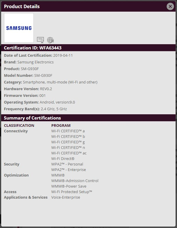 Galaxy S7 Android Pie Wi-Fi Certification