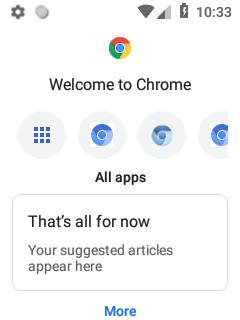 Android Chrome Touchless New Tab Page