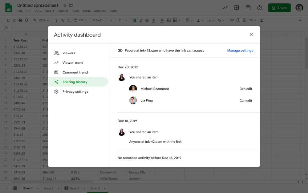 Activity dashboard in Google Docs, Sheets, and Slides adds