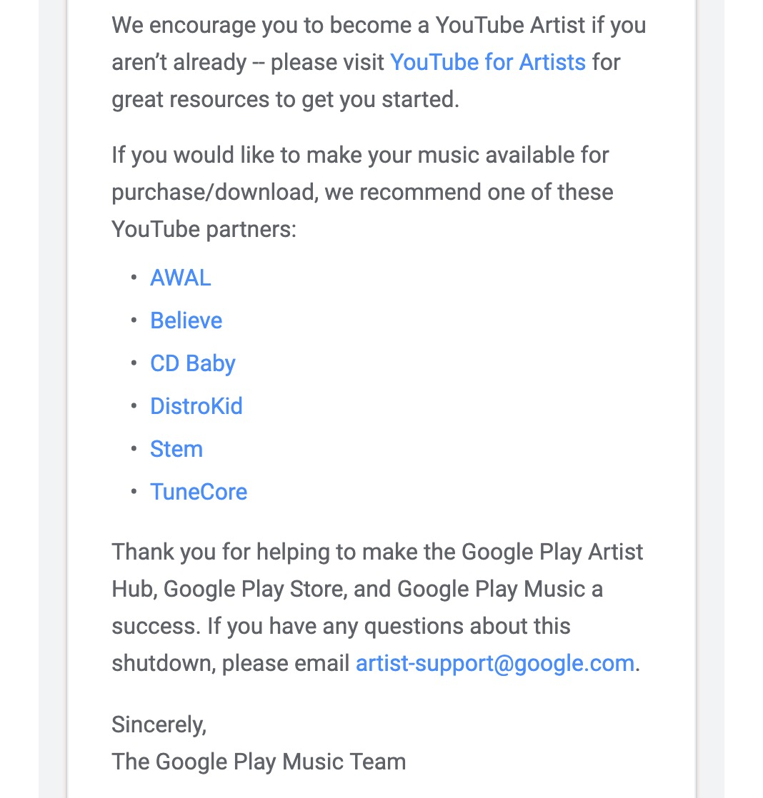 Google Play Artist Hub shutting down April 30 w/ Google no
