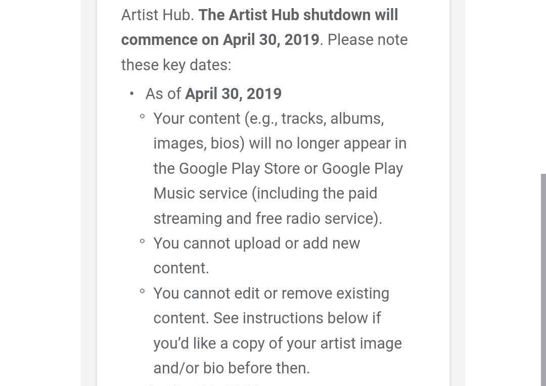 Play Music shutdown begins April 30th with buying, streaming from smaller artists removed