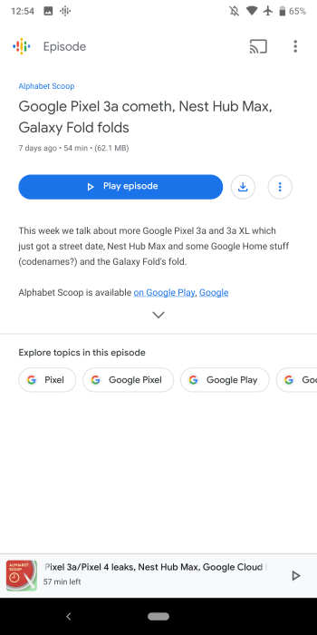 Google Podcasts search filters