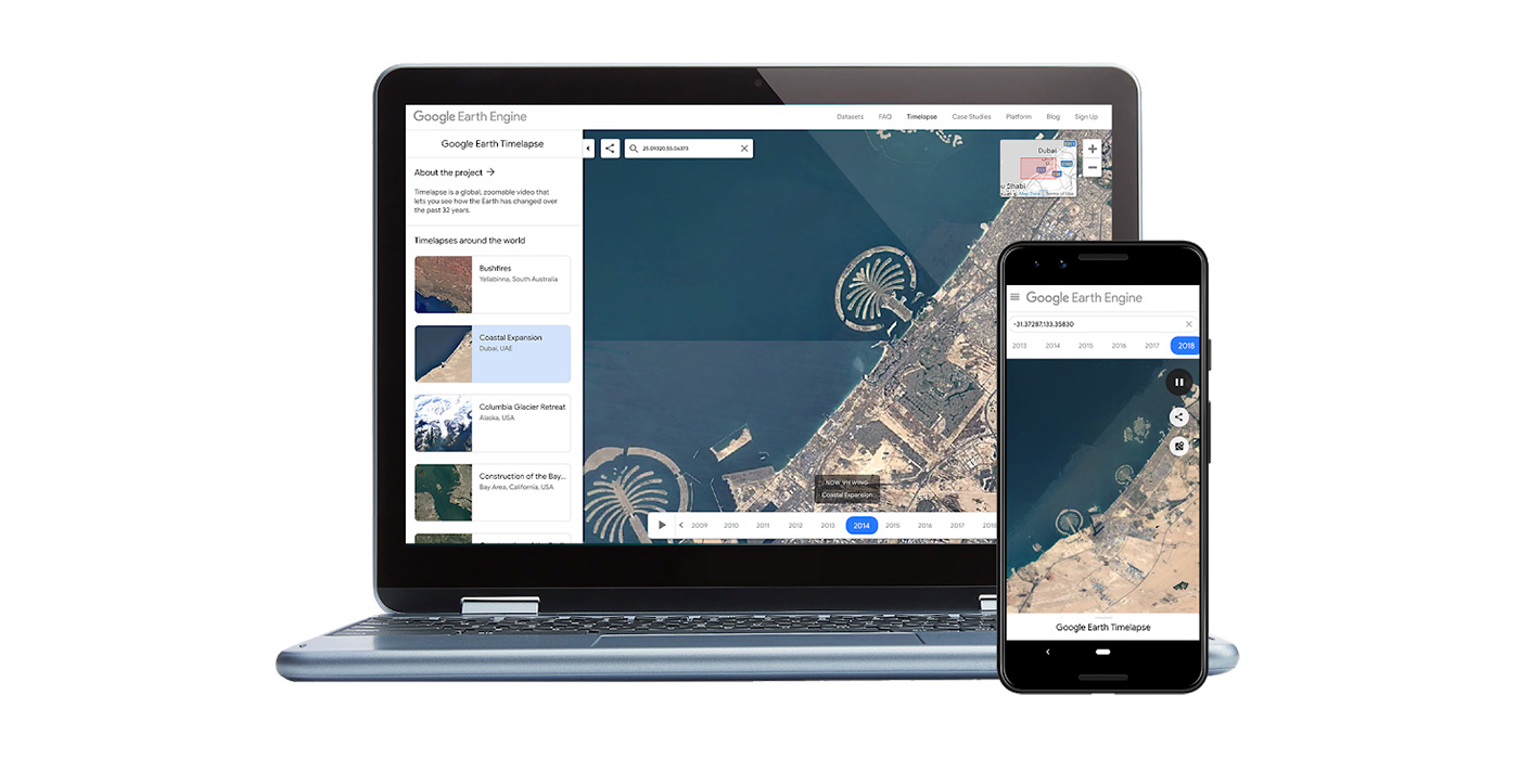 Google Earth Timelapse now works on phones, adds 2 years