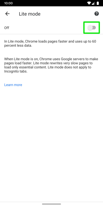 Google Chrome Android Data saving lite mode