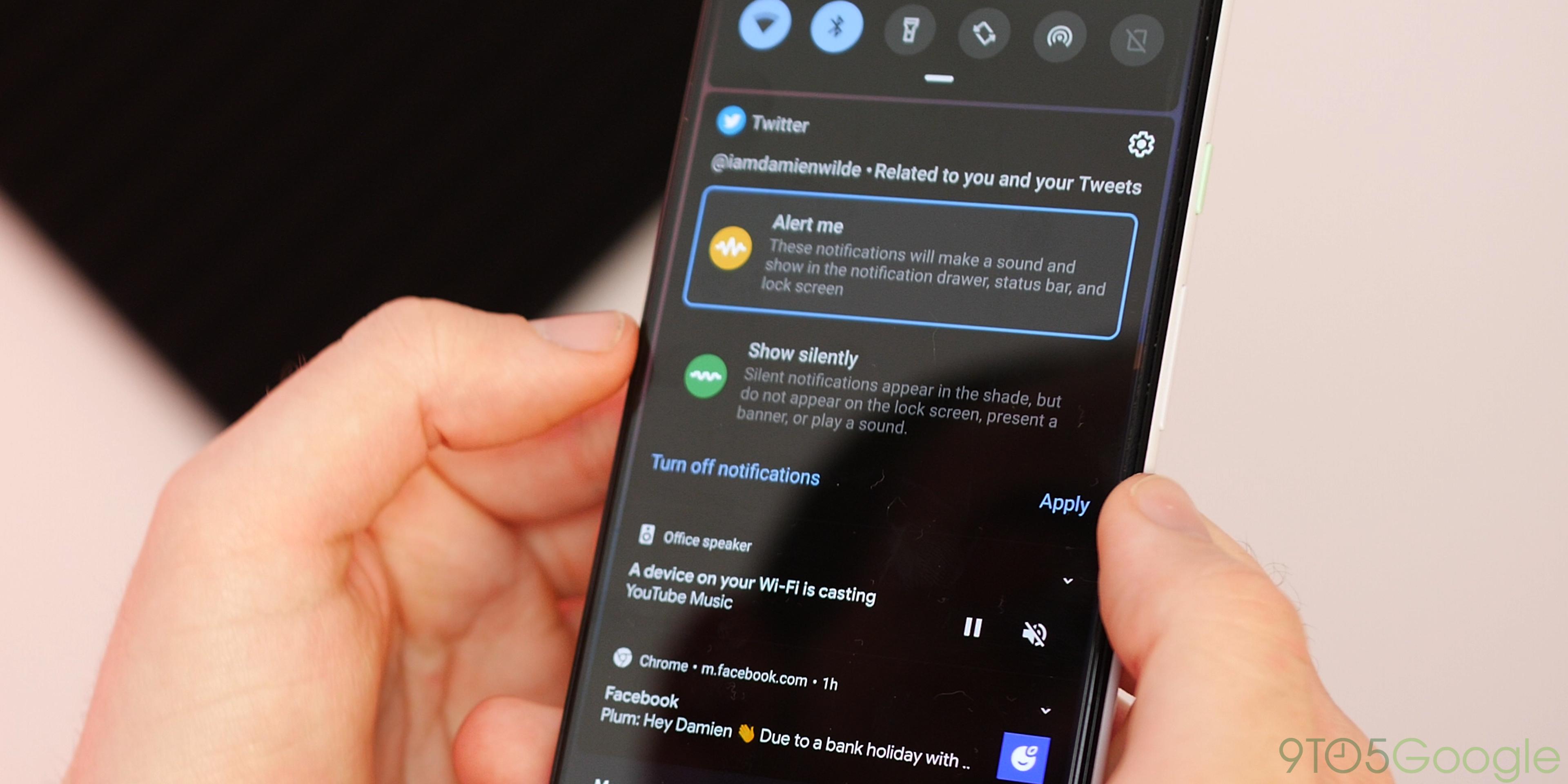 Android Q Beta 3 notification controls