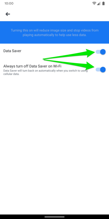 Facebook Android App Data Saver Mode