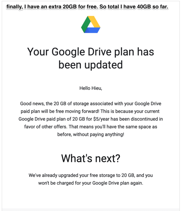 Google Drive plan upgrade free of charge