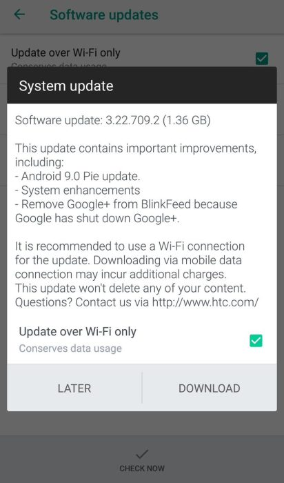 HTC U11 Android Pie update