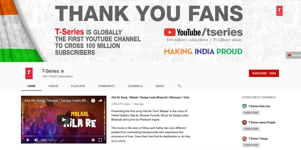 T-Series becomes the first YouTube channel to surpass 100 million subscribers