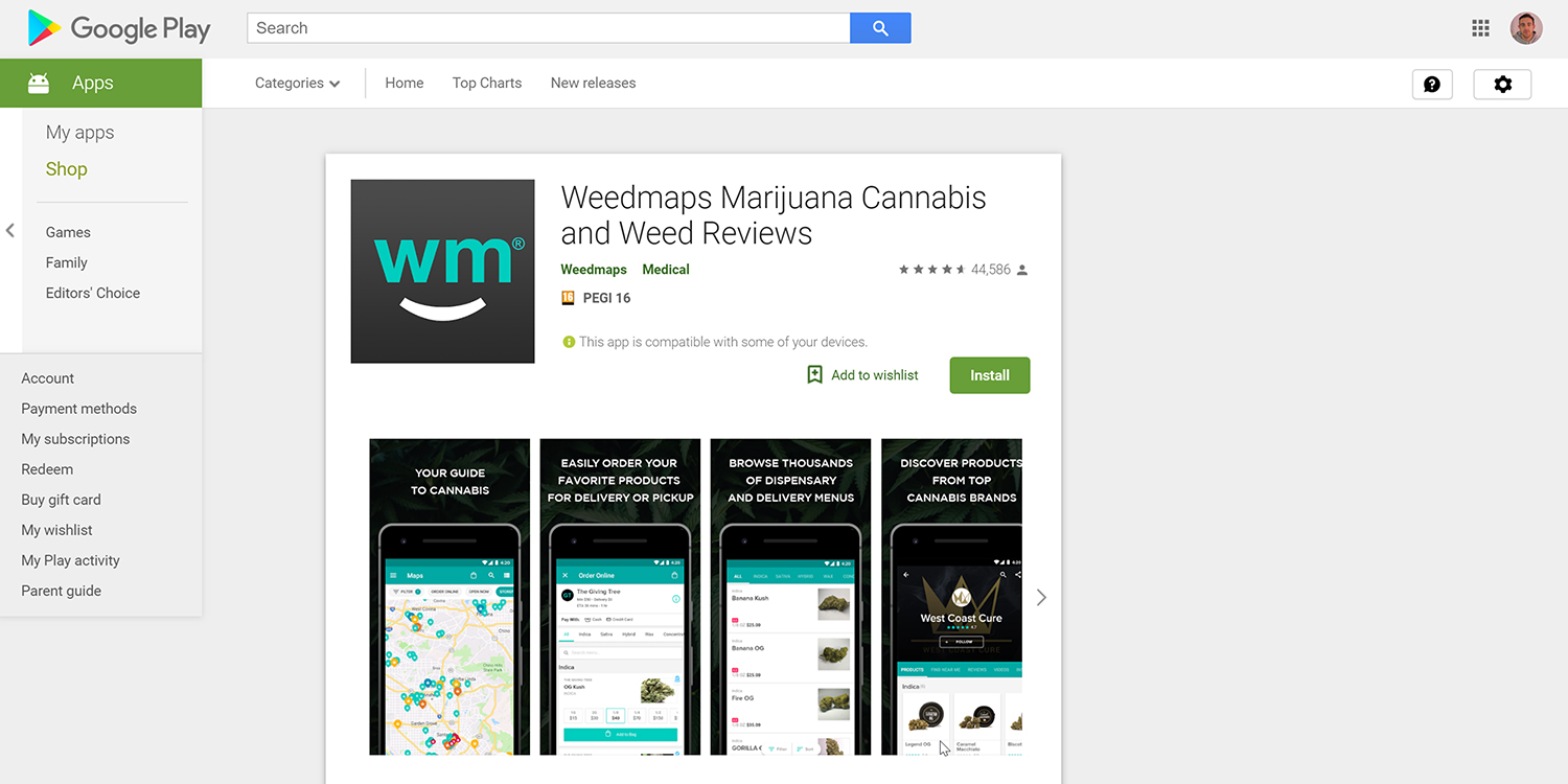 Weedmaps Marijuana play store