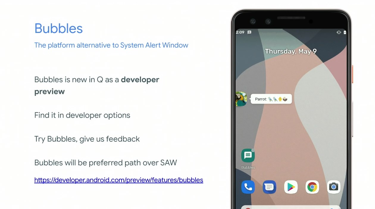 Android Q 'Bubbles' won't be user-facing in final release