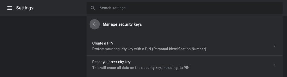 Chrome 75 security keys