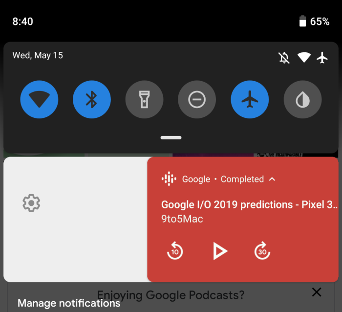 Google app 9.88 Podcasts stuck