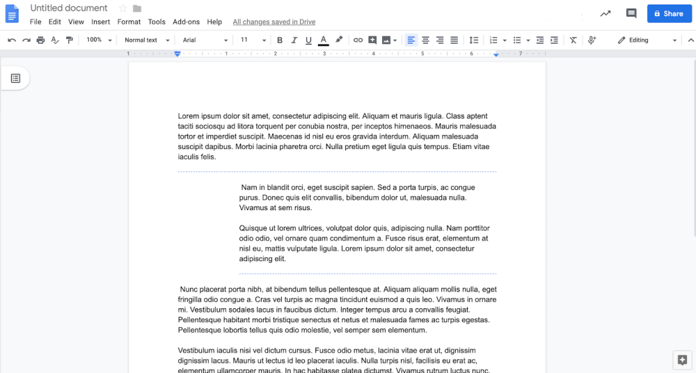 Google Docs per section margins