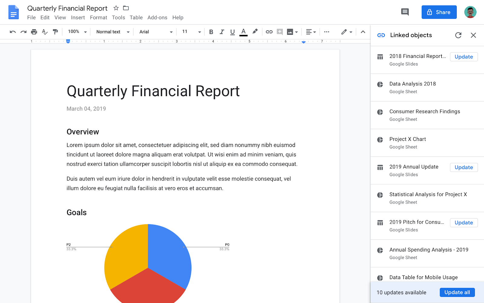 Google Docs update linked