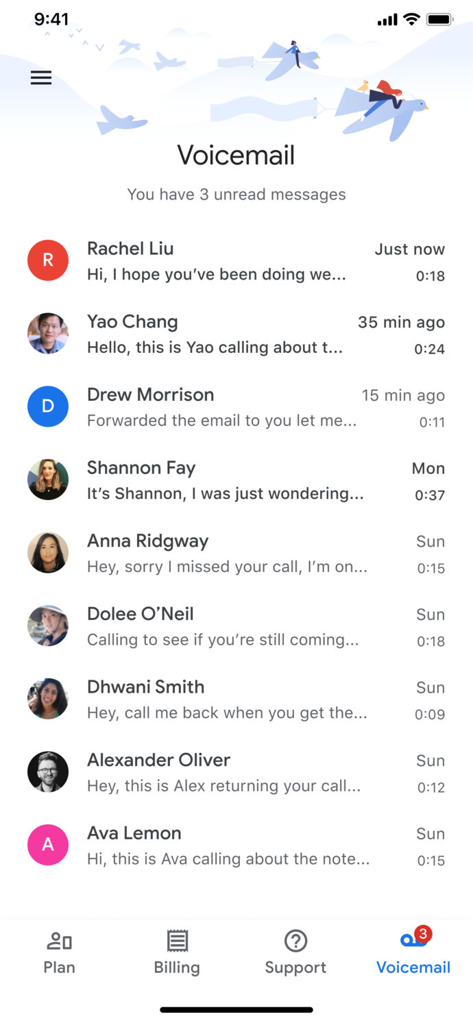 Google Fi iPhone visual voicemail