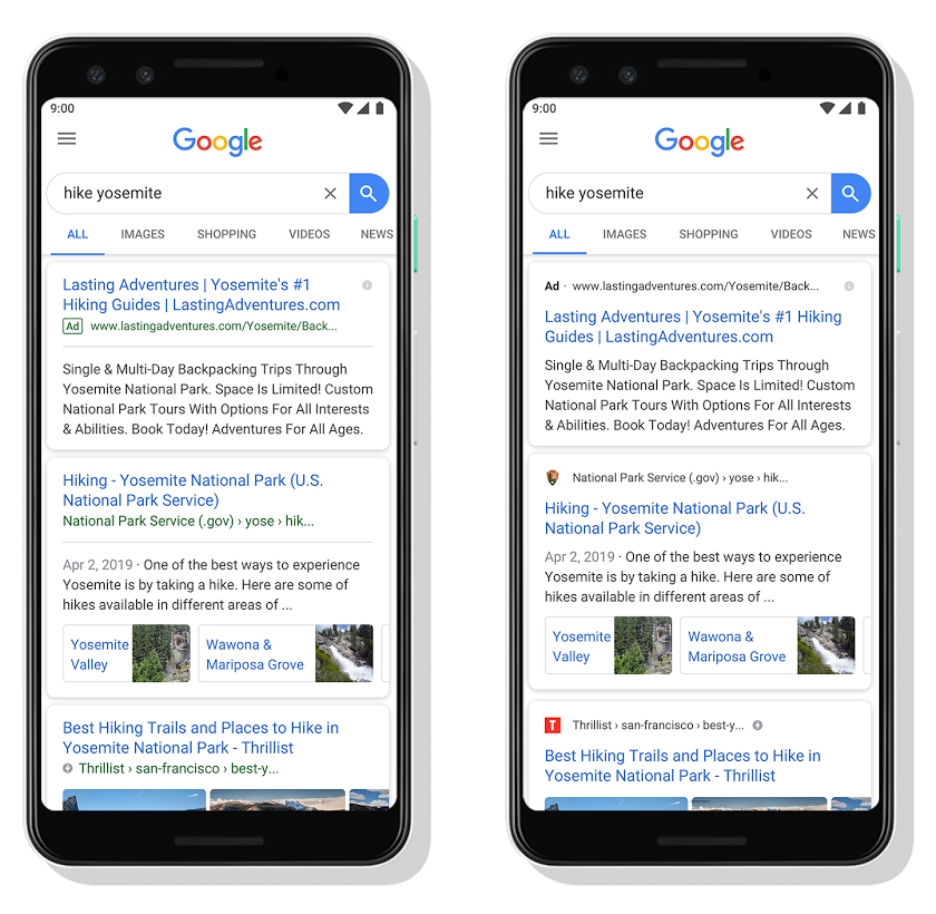 Google Search adding site favicons to every result, starting on mobile