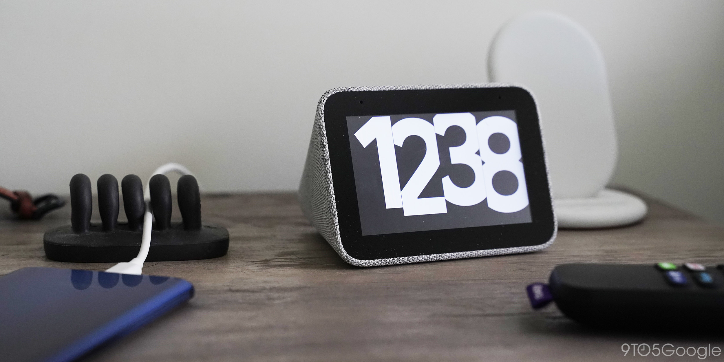 lenovo smart clock google assistant display bedroom table