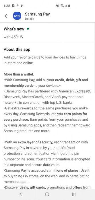 Samsung Galaxy A50 US