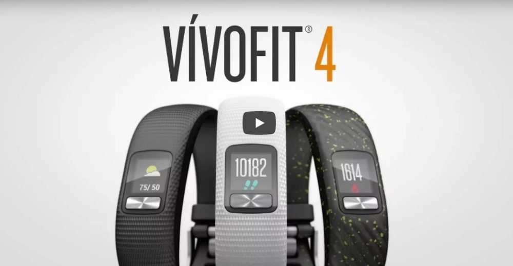 Garmin Vivofit 4 fitness tracker in black, white, and speckle color variants