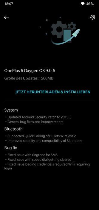 OnePlus 6 Oxygen OS 9.0.6