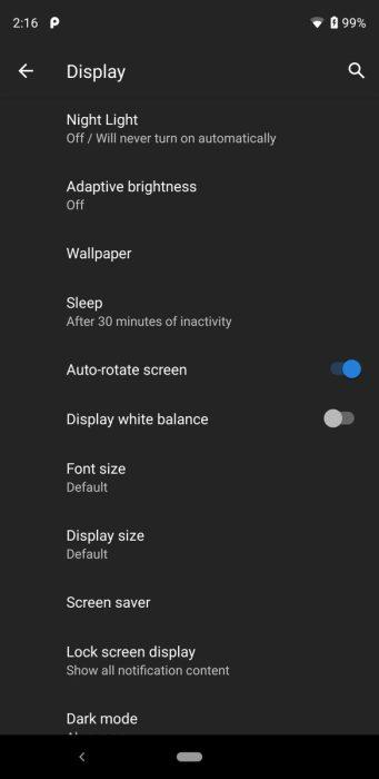 Google Pixel 4 display white balance true tone style