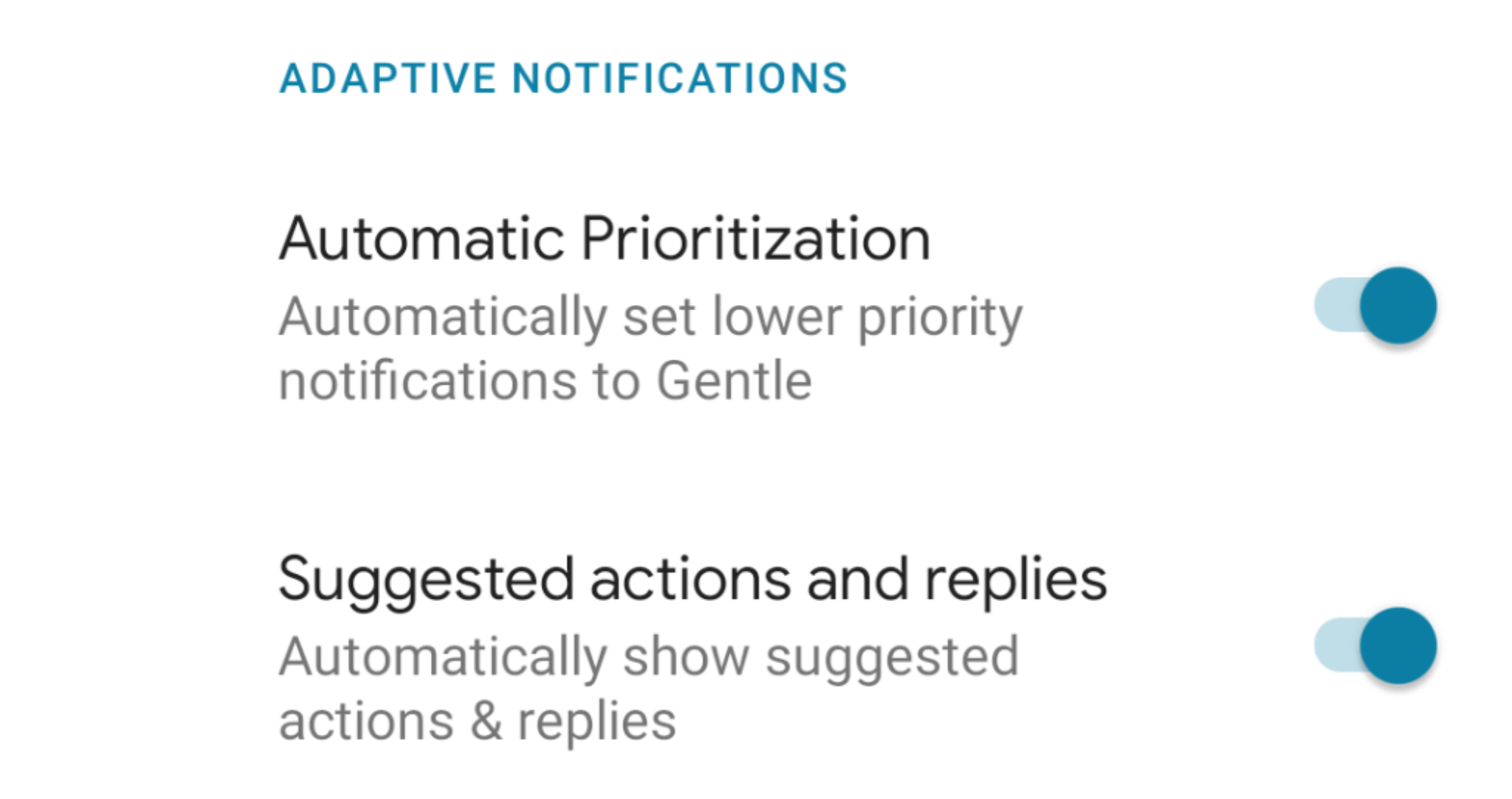 android q adaptive notifications