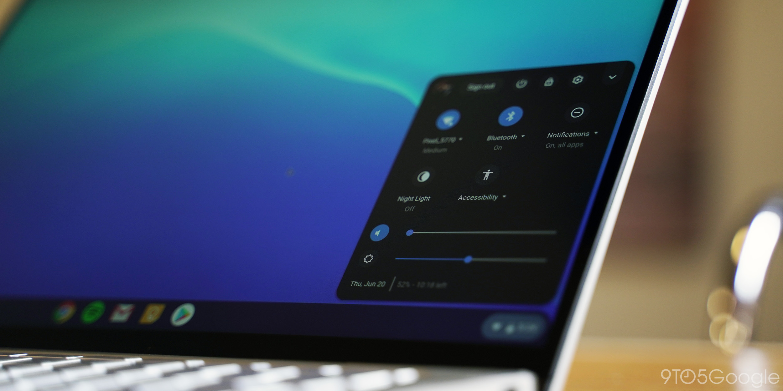 chrome os quick settings menu