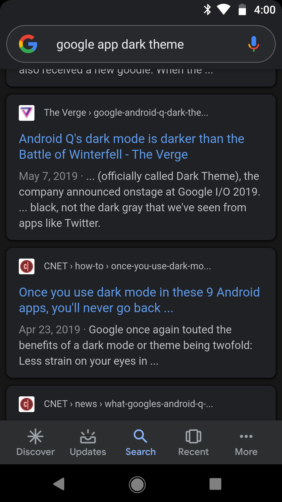 Google app testing dark theme for Search, Discover [Gallery