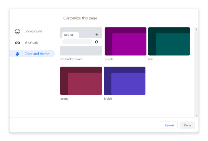 Google Chrome 77 Customization menu Color and theme