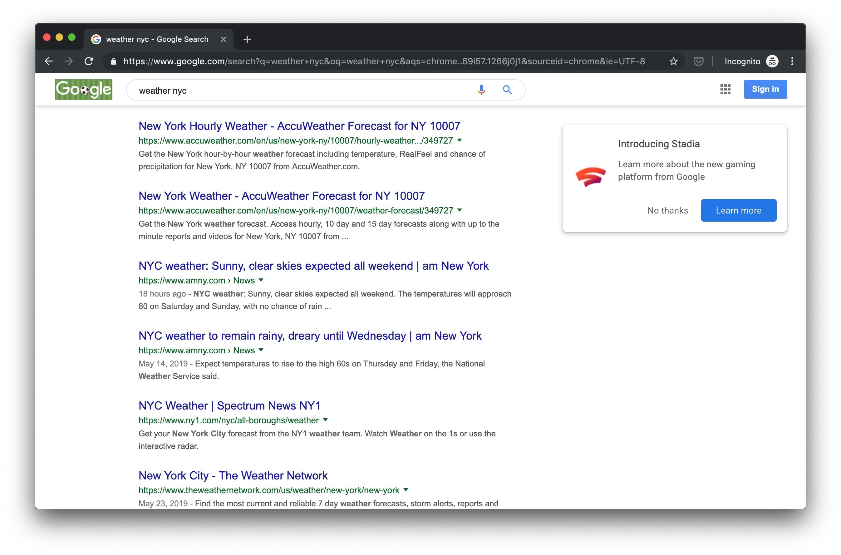 El anuncio de Google Stadia ya aparece en búsqueda 1