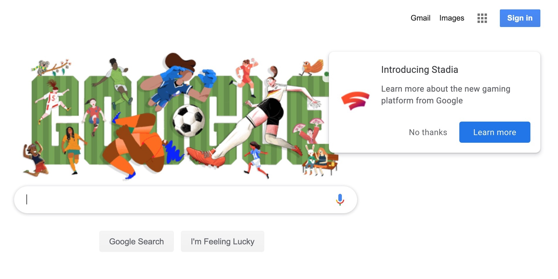[Update: On homepage] Google Stadia ad will appear on your first search today