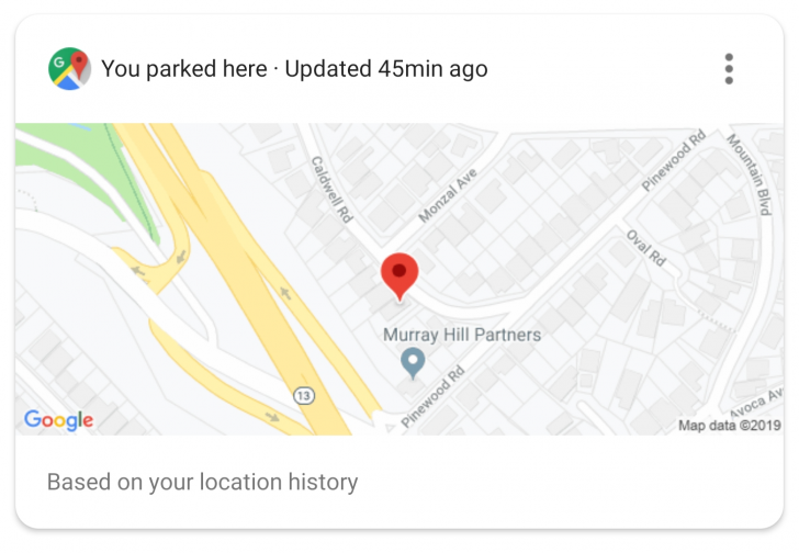 google assistant parking card