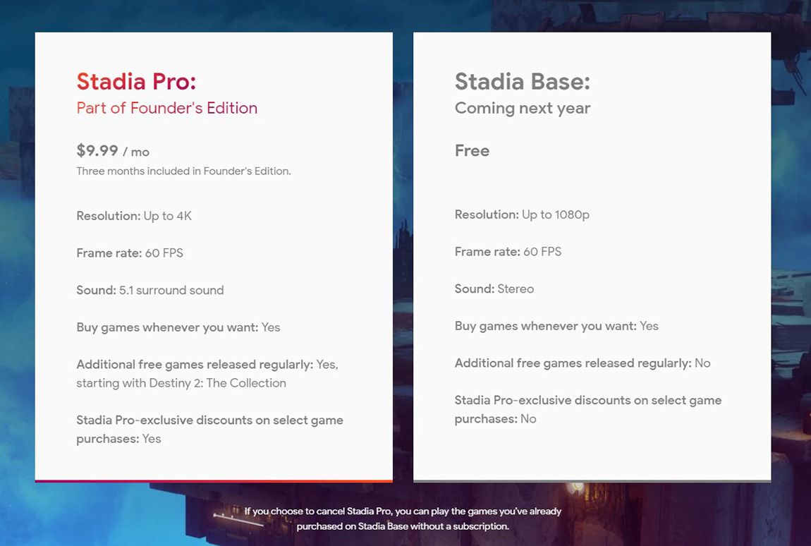 google stadia free base tier comparison