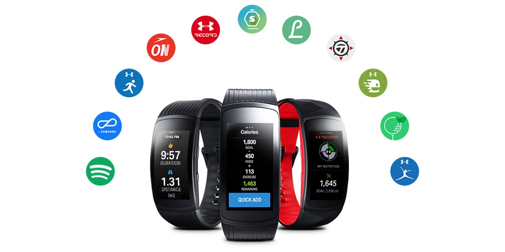 Samsung Gear Fit2 Pro fitness tracker with supported apps