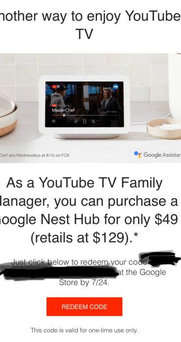 YouTube TV Nest Hub