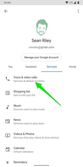 Google Home app for Android Settings menu Services tab