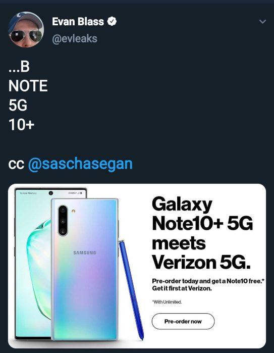 Note 10+ 5G tweet Evan Blass